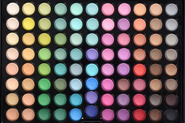 Top view eyeshadow palette making a background stock vector