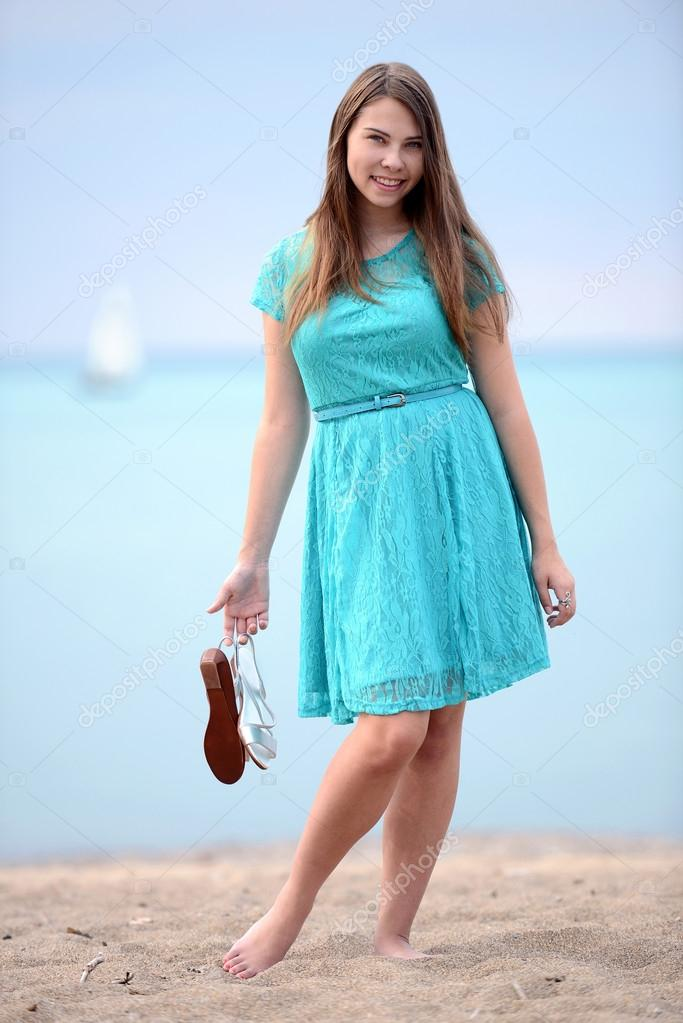 Barefoot Teens in Summer Dresses
