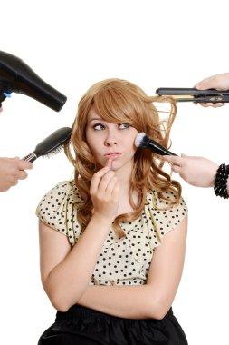 Multi tasking teen girl makeover