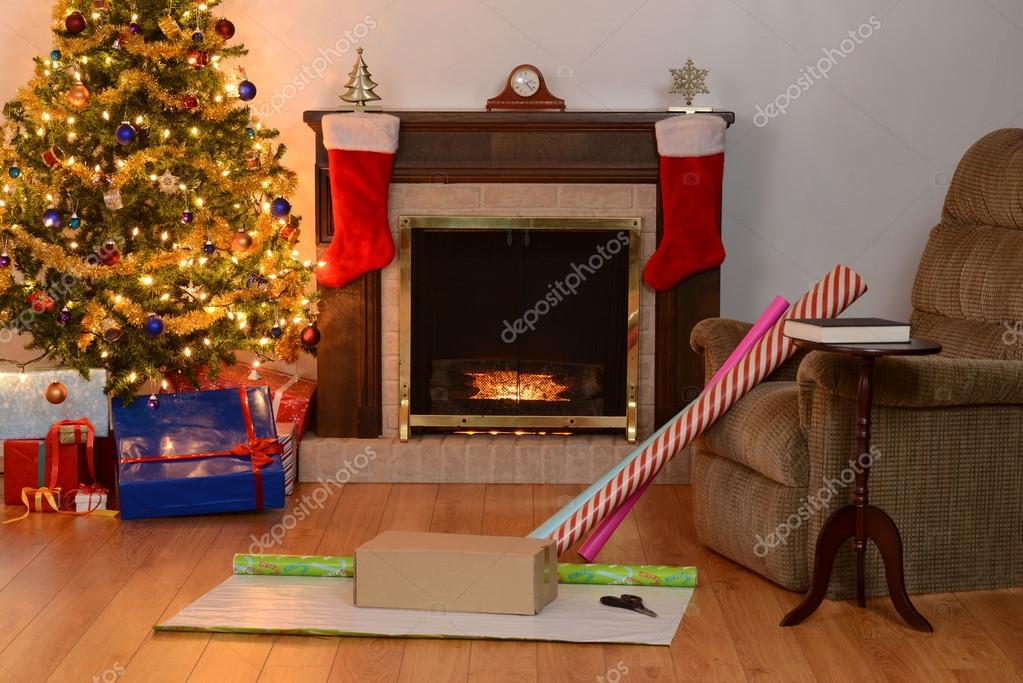 Weihnachten Zuhause Szene Verpackung Geschenke — Stockfoto ...
