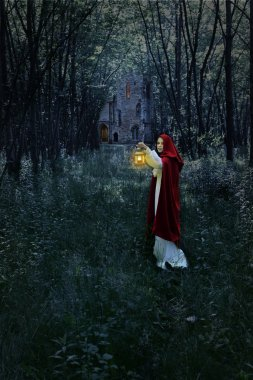 Woman with lantern in forest and castle