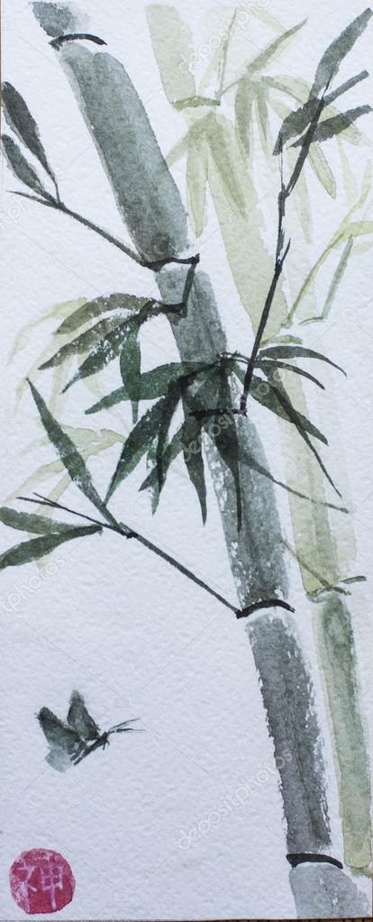 asian bamboo watercolor