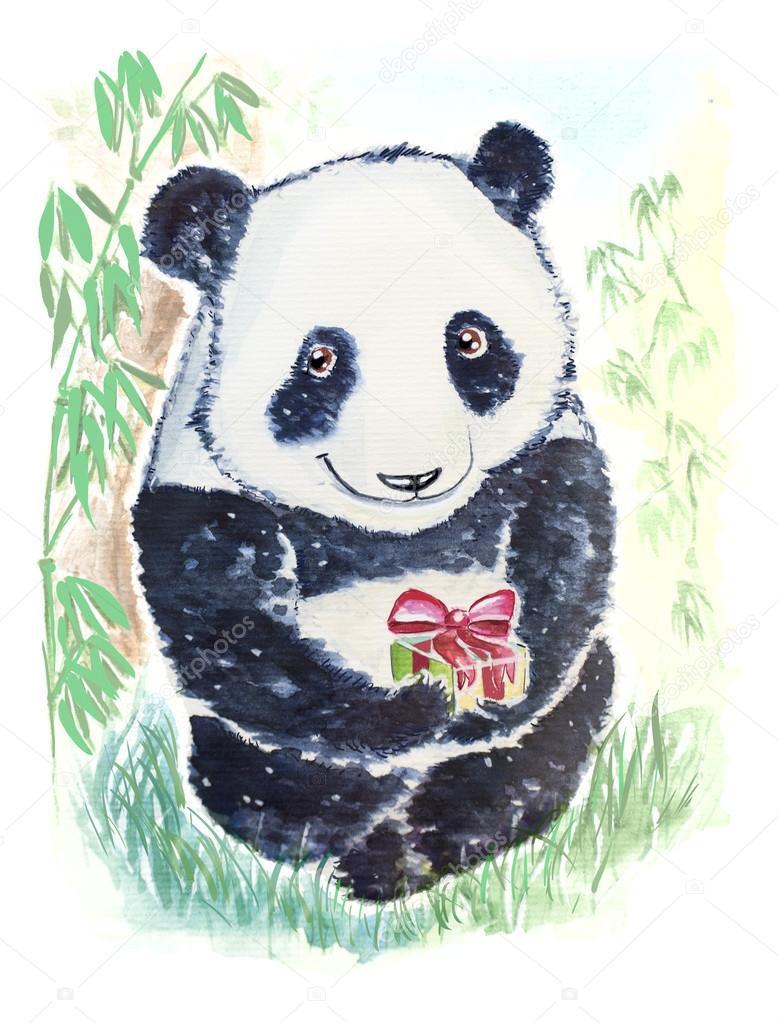 Поздравительные открытки панда, японскими иероглифами