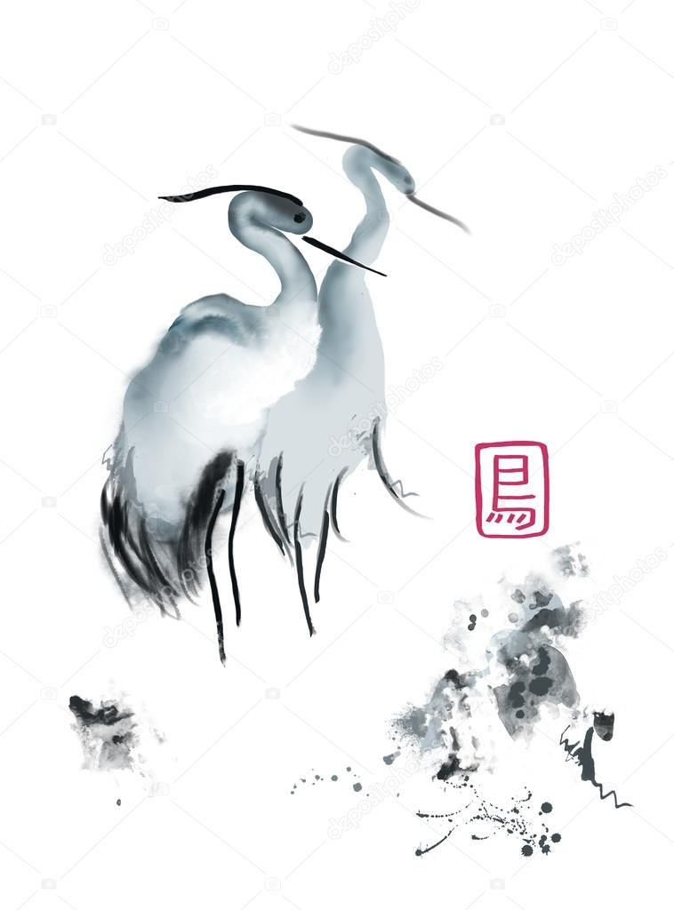 Asian crane watercolor