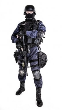 Special weapons and tactics (SWAT) team officer with his gun stock vector
