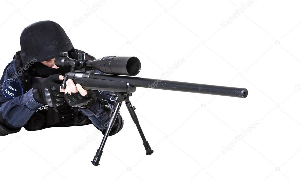 oficial de SWAT con rifle de francotirador — Fotos de Stock ...