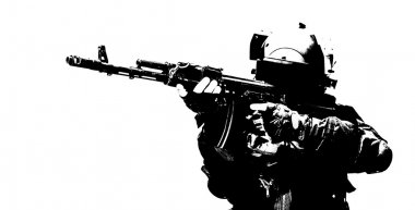 Hard light image of spec ops soldier in face mask with his rifle stock vector
