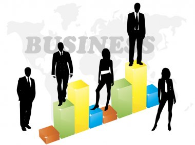 Vector illustration of business people and graph