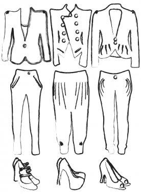 Vector illustration of drafts of women's clothing