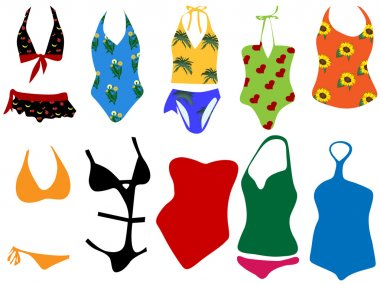 Vector illustration of different swimsuits for woman