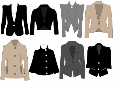Vector illustration of different jackets for women