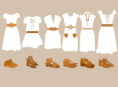 Vector illustration of summer clothes for women