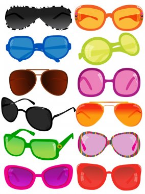 Vector illustration of different sunglasses