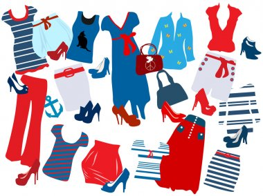 Vector illustration of different fashion elements for women
