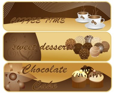 Vector illustration of abstract chocolate banners