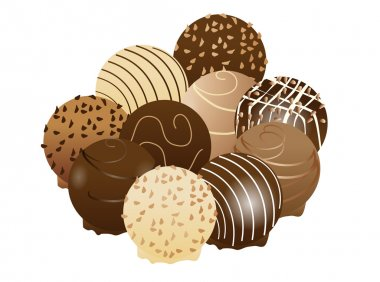 Vector illustration of different kind of chocolate