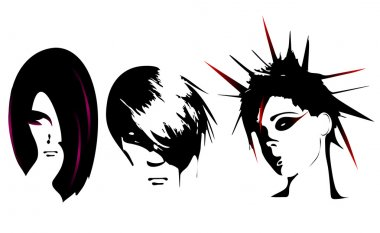 Vector illustration of different women hairstyle
