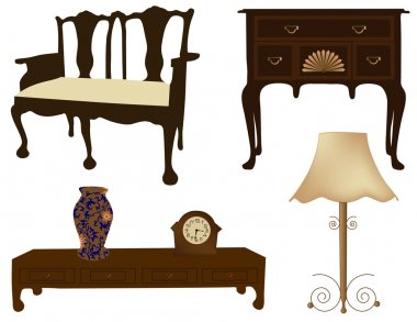 Vector illustration of silhouettes of different retro furniture