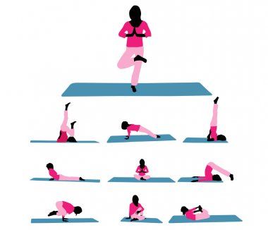 Vector illustration of different silhouettes of yoga