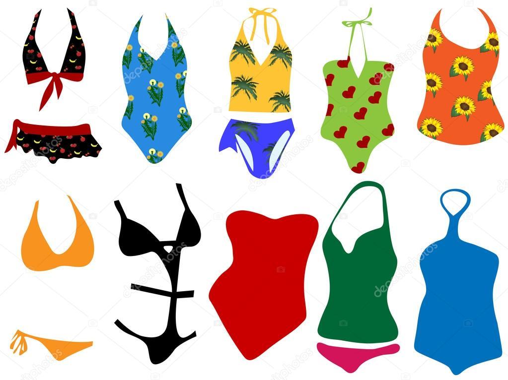 Illustrazione vettoriale di diversi costumi da bagno per donna vettoriali stock brandzela - Costumi da bagno stock ...