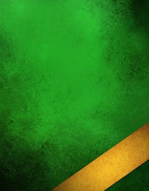 elegant green background with gold ribbon angled in corner layout design