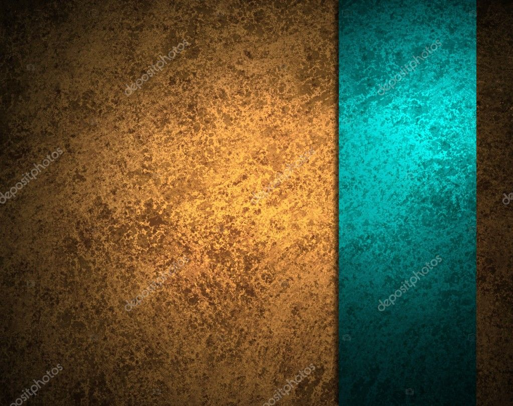 Gold background vintage grunge texture with bright teal blue