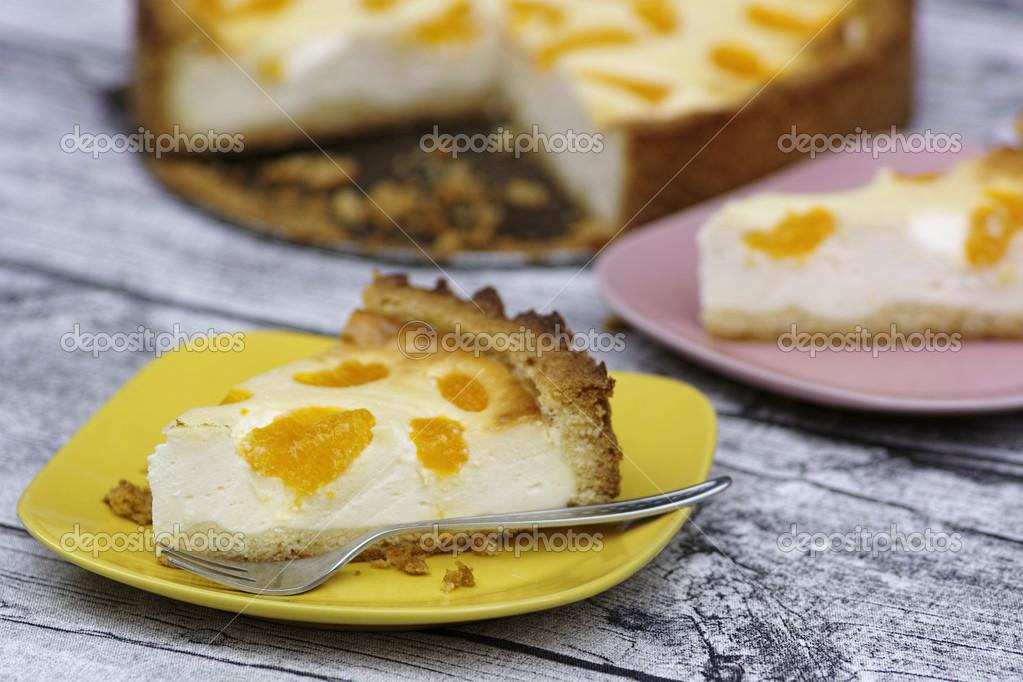 Saure Sahne Kuchen Mit Mandarin Stockfoto C Kleiness 49625949