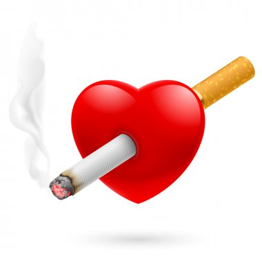 Smoking kill, vector Illustration of red heart impaled by cigarette.