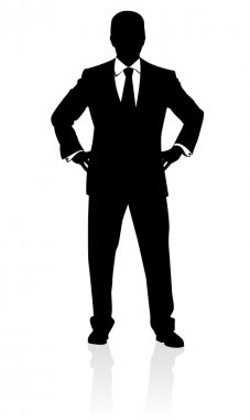 Business man in suit and tie silhouette. Vector illustration
