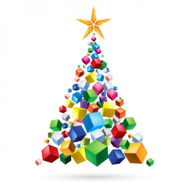 Raster version. Abstract Christmas tree from the cubes. Illustration on white background