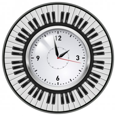 Realistic Office Clock and musical keyboard. Illustration on white background.
