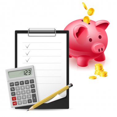 Big pink pig bank, Dollars, Note and Pen, Classic Office Clock and Calculator on a white background