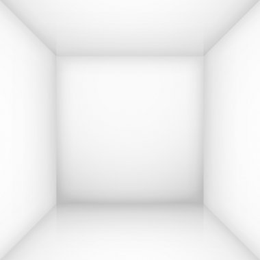 White simple empty room interior, box. Vector illustration