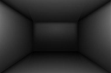 Black simple empty room interior, box. Vector illustration