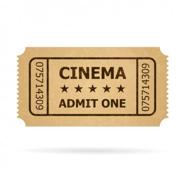 Vector illustration of yellow cinema ticket