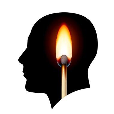 Creative ideas Burning match. Illustration on white