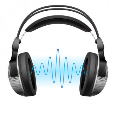Raster version. Realistic headphones and music wave. Illustration on white background