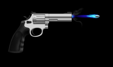 Revolver firing ice bullet. Illustration on black background