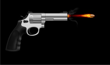 Revolver firing bullet. Illustration on black background