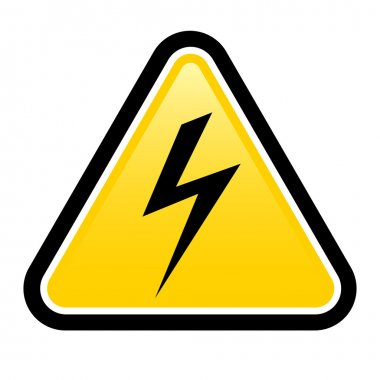 High voltage yellow warning sign
