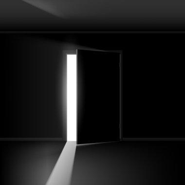 Open door. Illustration on black background for creative design