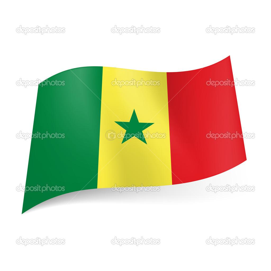 Flagge roter hintergrund gruner stern