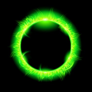 Solar corona with green beam.