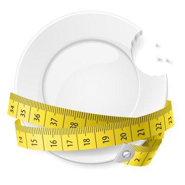 Bitten plate with measuring tape. Diet concept. clip art vector