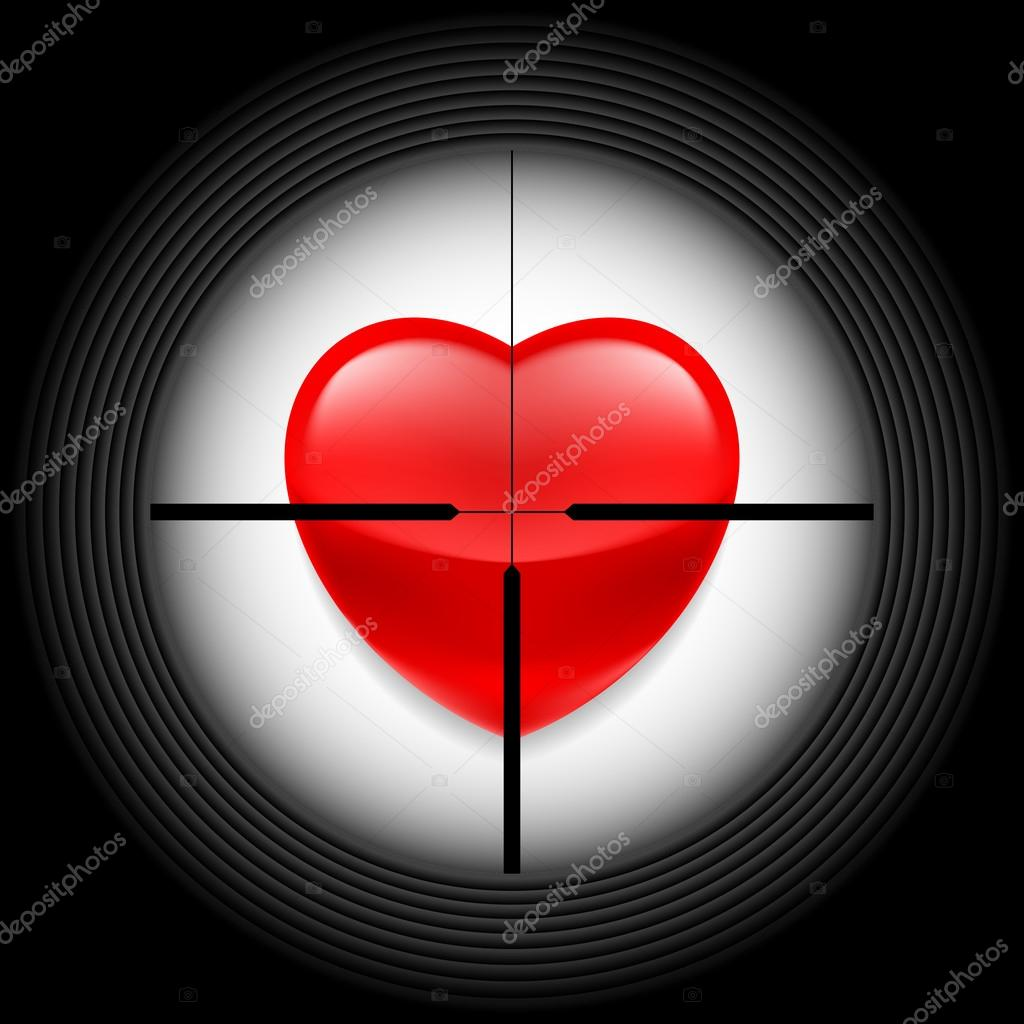 Heart in rifle sight