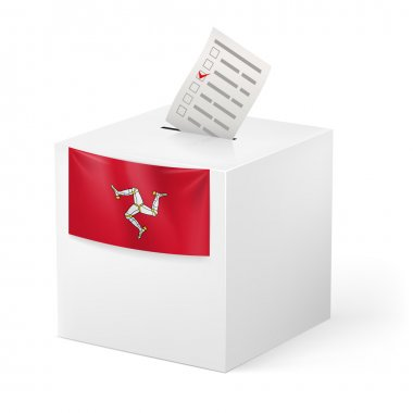 Ballot box with voting paper. Isle of Man