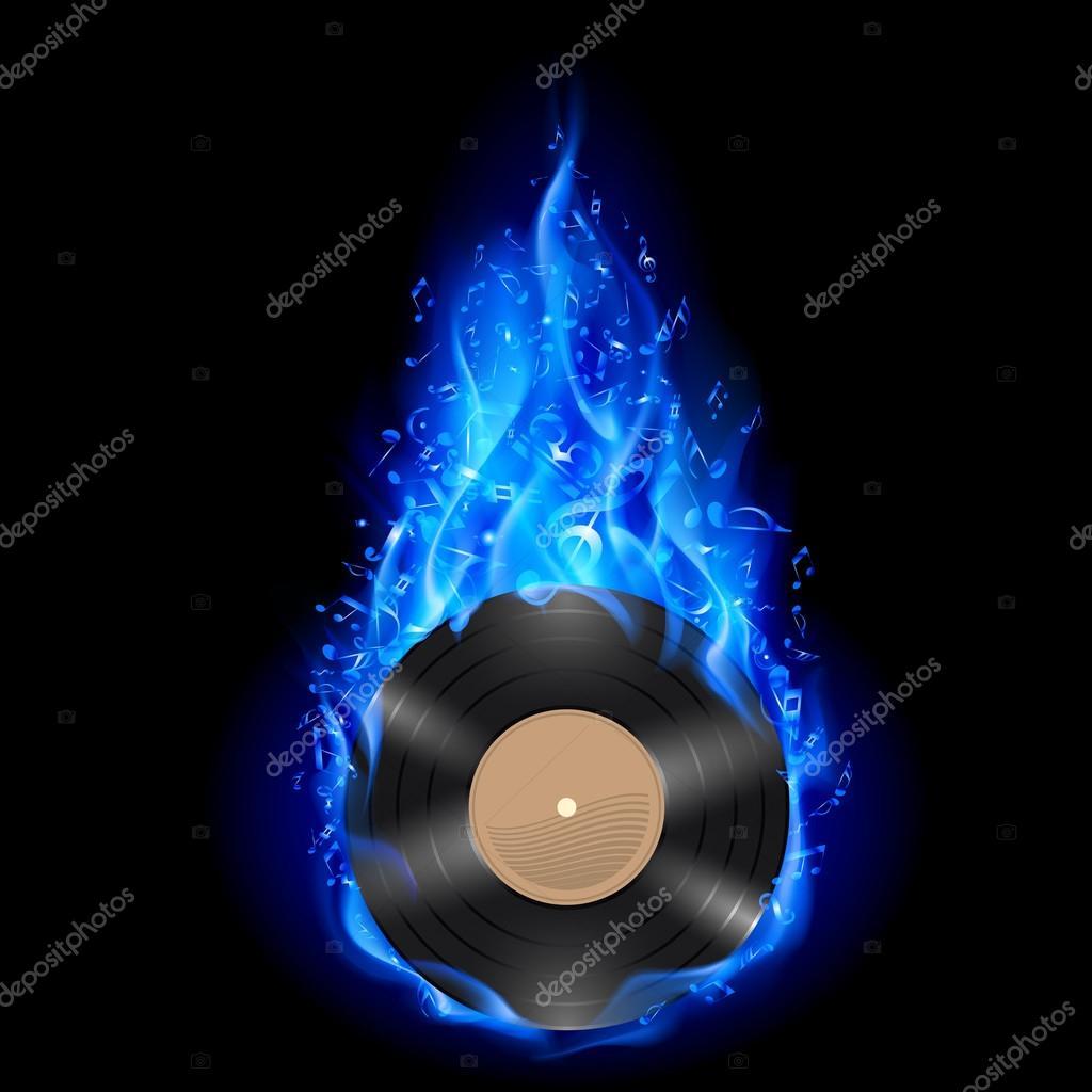 disco de vinilo en fuego azul — Archivo Imágenes Vectoriales ...