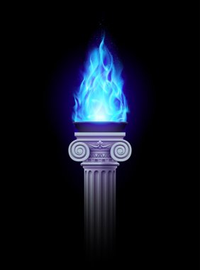 Column with blue fire
