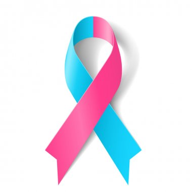 Pink and blue ribbon as symbol of pro-life, inflammatory breast cancer, infertility, Sudden Infant Death Syndrome stock vector