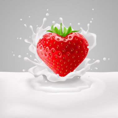 Strawberry heart with milk
